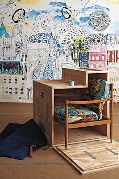 Anthropological home decor. I would love to have this because it could be a desk, and tuck the chair away when no longer   in use!. ALSO I can put stamps on the side of all the places I have traveled!!