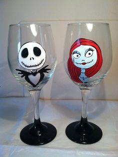 Nightmare Before Christmas Inspired Wine Glass by TheMADPainterVA, $72 ...