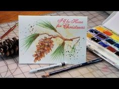 The Frugal Crafter Watercolor Tutorials on YouTube - Pinecone and Tassel Christmas Card