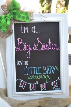 Baby Number Two Announcement Chalkboard