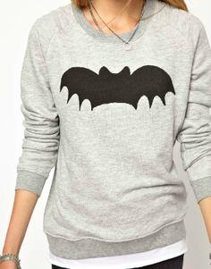 Grey Long Sleeve Bat Print Loose Sweatshirt