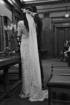 Stone Fox Laura Michael in floor length silk chiffon veil with braid crown, handcrafted silk flowers and fresh eucalyptus leaves