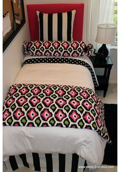 Pink, Green & Black Designer Teen & Dorm Bed in a Bag | Teen Girl Dorm Room Bedding