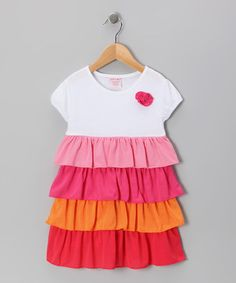 Take a look at this Pink & Orange Tiered Ruffle Dress - Toddler & Girls by S.W.A.K. on #zulily today!