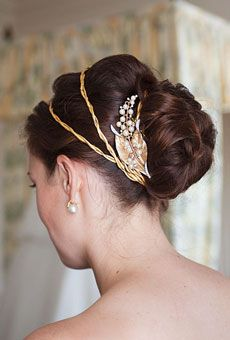 Gorgeous Chignon with Vintage Hair Pin and Headbands, Long Wavy Hair.