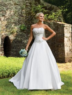 Scalloped-edge simple ball gown satin bridal gown