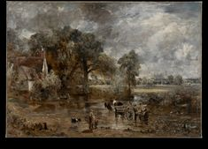 Full-Scale Study for The Hay Wain, John Constable, about 1821. Visit the real Flatford Mill http://www.nationaltrust.org.uk/flatford-bridge-cottage/