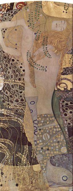"""Les serpents d'eau de Gustav Klimt : il ne cesse de déployer une """"ligne ornementale"""", qui engendre le temps dans l'espace, qui flotte dans un espace sensuel, un style pulsionnel dans lequel visage et anatomie deviennent aussi des ornements..."""