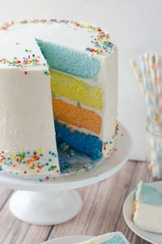 Vanilla Sour Cream Rainbow Cake recipe: Perfect for Easter or any spring celebration.