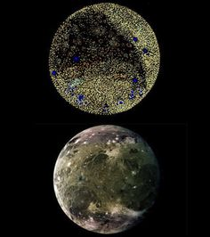 Top: sphere #6 from Organiverse; bottom: Jupiter's Moon Ganymede in Visible Light by NASA/Galileo Orbiter
