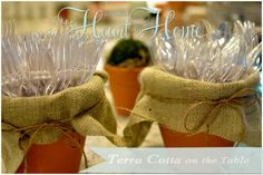 DIY-Charming little terra cotta flower pots to Hold Utensils ! Love This Idea !