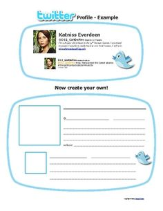 """Use a Twitter Tweet as a fun way to assess reading comprehension for any content area. Use as exit slips or quick reviews. Students love to """"tweet"""" as characters or historical figures. They can also create a Twitter profile (shown in pic). Download includes 5 pages of handouts/directions. FREE!"""