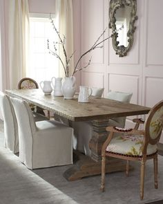 """Natural Dining Table and """"Ensley"""" & """"Springhill"""" Chairs by Old Hickory Tannery at Horchow."""