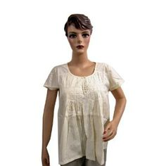 Womens Bohemian Fashion Tunic Top Summer Cotton Ivory Blouse Small Size (Apparel)