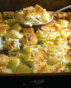 """Leek Bread Pudding: """"Sauteed leeks bring their delicate sweet-savory flavor to this rich bread pudding. Serve this dish as a Thanksgiving side or as a vegetarian main course."""""""