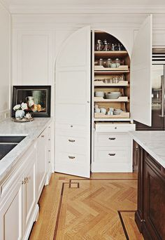 kitchen storage, arch cabinet, slide drawer, white cabinets, kitchen shelving, hidden pantri