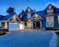 decor, idea, dream homes, exterior lighting, driveway, blue houses, bathroom designs, sweet home, dream houses