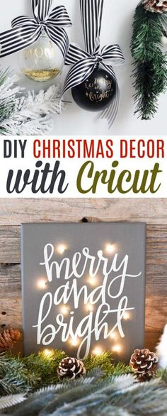 DIY Christmas Decor With Cricut - make your own DIY ornaments, some Christmas Iron On Projects or even some Cricut vinyl projects! #cricut #cricutmade #cricutprojects #vinyl