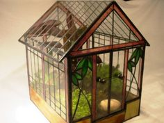 """Lead Light Stained Glass Terrarium """"Colonial"""" Plant House Hermit Crabs 