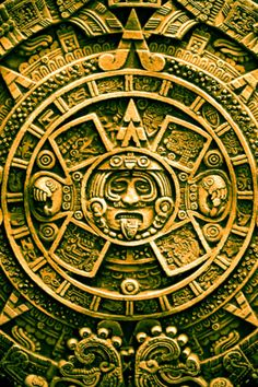 Parte central de La Piedra del Sol que muestra el quinto sol (al centro mismo) y flanqueándolo los 4 soles o eras anteriores que han sido creación y destrucción  consecutiva de vida. Cultura mexica. Período Posclásico. Tenochtitlan. hoy Ciudad de México D. F.
