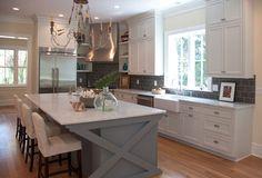 kitchens - white Ikea kitchen cabinets gray kitchen island white slipcovered counterstools marble counter tops farmhouse sink gray subway tiles backsplash