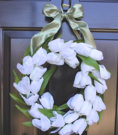 Wreath tulips and greenery surrounding a by OurSentiments on Etsy, $49.00