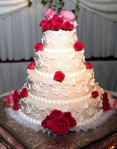 Four Tier Pink and Red Rose Cake
