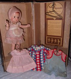 Original Effanbee Patsyette Wardrobe Trunk and Doll and factory clothing
