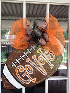 Door Hanger: Wooden Football Door Decoration, Custom Football. $35.00, via Etsy.