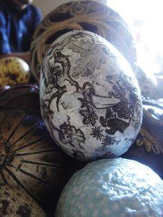 Decoupaged plastic Easter eggs.