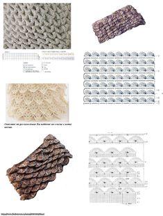 Three different versions of the crochet crocodile stitch