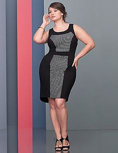 A sassy twist on your Little Black Dress, this stunning sheath amps up the attitude with a perforated top panel to lets a little contrast peek through. From our designer-inspired Lane Collection, this gorgeous number was created with curves in mind from the slimming contoured seaming to the unique colorblocking that draws the eye inward. Soft ponte knit construction lends a bit of stretch for a figure-hugging fit, plus it resists wrinkles, fading and pilling. An exposed back zipper and subtle h…