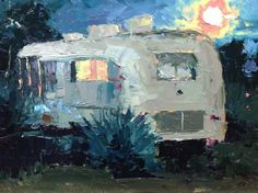 Nocturne, Full Moon in Marfa, painting by artist David Boyd, Jr