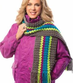 Love this neon striped scarf!