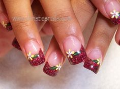 spring flowers, flower nails, nail arts, glitter nails, beauty nails, sparkly nails, acrylic nail designs
