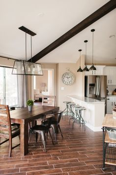 dining rooms, dine room, color schemes, light fixtures, colors, rustic kitchens, breakfast bars, wood looking tile floors, tomkat studio