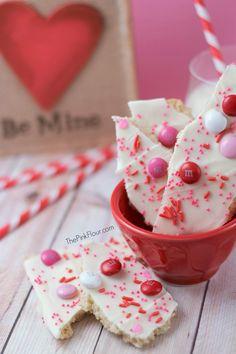 Valentine's Day White Chocolate Sugar Cookie Bark