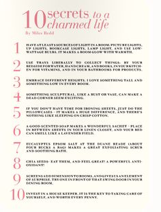 10 secrets to a charmed life... sounds good to me (:
