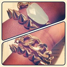 Finally managed to get my hands on the spiked gold bracelet from @asos  #armcandy #jewelry #bracelets #gold #oiajules #spikes #asos #goldchains #aquamarine #armparty #armswag - @rnsonia- #webstagram
