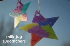 Milk jug sun catchers made with a plastic container and markers. Easy Christmas tree ornament for kids to make - happy hooligans
