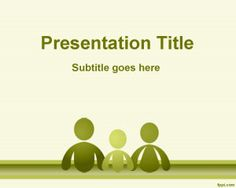 Family PowerPoint Template - green template slide design with family icons, #free to download for social science projects and family presentations in PowerPoint