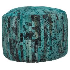 Handmade cowhide pouf with wood framing.  Product: PoufConstruction Material: Wood and cowhideColor: ...