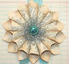 Small paper (book page) cone wreath ornament