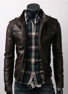 handmade Men Brown Leather Jacket men Brown leather by ukmerchant, $169.99