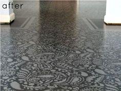 paint floor, paisley, basement, laundry rooms, hous, concrete floors, stencil, plywood floors, painted floors