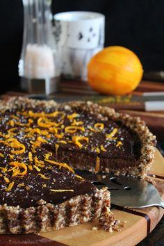 chocolate caramel tart with orange & sea salt