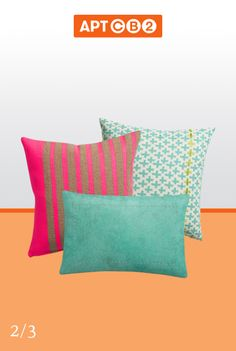 Graphic pops in aqua and pink--this trio of pillows help call out similar colors in the #APTCB2 Rooftop design like the neon throw, aqua umbrella and even the orange pouf! Mix and match with the #APTCB2 Collection at www.cb2.com/APTCB2
