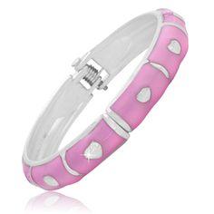 $8.99 - Pink Enamel Hearts Design Baby Bangle