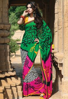 Green, #Pink and Off White Pure #Georgette #Saree with Blouse @ $134.47