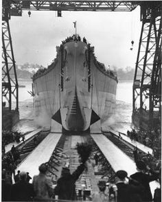 The battleship USS New Jersey slides down the ways at the Philadelphia Navy Yard on Dec. 7, 1942. (AP Photo)